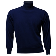 Men's Fine Merino Wool Franco Ponti Roll Neck Sweater - Navy