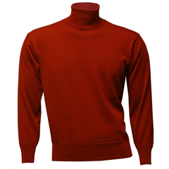 Men's Fine Merino Wool Franco Ponti Roll Neck Sweater - Red