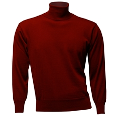 Men's Fine Merino Wool Franco Ponti Roll Neck Sweater - Wine