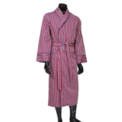 Men's Lightweight Dressing Gown - Wine/Blue/Gold Striped