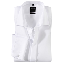Olymp White Diagonally Patterned Evening Dress Shirt - Standard Collar - Modern Fit