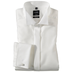 Olymp Cream Diagonally Patterned Evening Dress Shirt - Wing Collar - Modern Fit