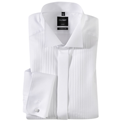 Olymp White Vertically Patterned Evening Dress Shirt - Wing Collar - Modern Fit