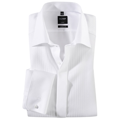Olymp White Vertically Patterned Evening Dress Shirt - Standard Collar - Modern Fit