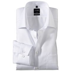 Olymp Modern Fit Shirt - White Herringbone