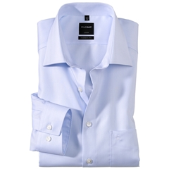 Olymp Modern Fit Shirt - Blue Herringbone