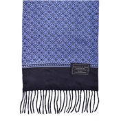 Navy & Blue Flower Patterned Wool-Backed Silk Scarf