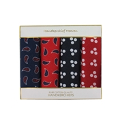 Box of Four Large Bandanas or Handkerchiefs -  2 Spot and 2 Paisley Bandanas