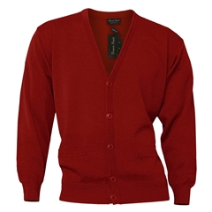 Mens Franco Ponti Button Front Cardigan in Red
