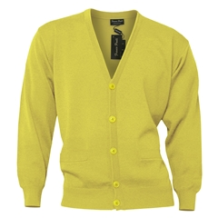 Mens Franco Ponti Button Front Cardigan in Lemon