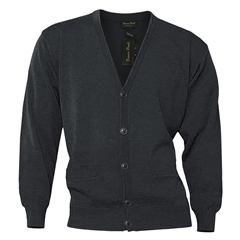 Mens Franco Ponti Button Front Cardigan in Charcoal