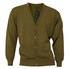 Mens Franco Ponti Button Front Cardigan in Mid Brown