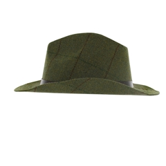 Tweed Wool Fedora in Mid Green