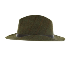 Tweed Wool Fedora in Dark Green