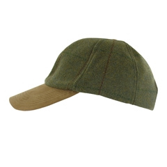 Tweed Baseball Cap with Faux Suede Peak in Dark Green - One Size Fits All