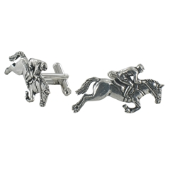 Jockey on Horseback English Pewter Cufflinks