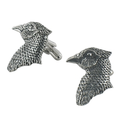 Pheasants Head English Pewter Cufflinks