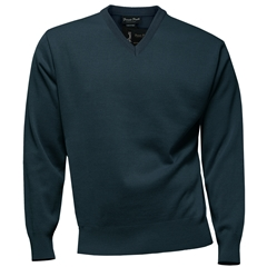 Franco Ponti Classic Vee Neck Sweater - Medium Weight - Airforce Blue