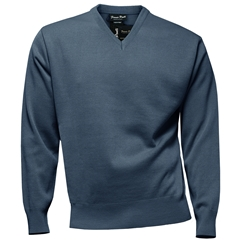 Franco Ponti Classic Vee Neck Sweater - Medium Weight - Denim Blue