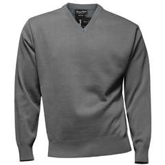 Franco Ponti Classic Vee Neck Sweater - Medium Weight - Grey