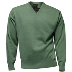 Franco Ponti Classic Vee Neck Sweater - Medium Weight - Mint