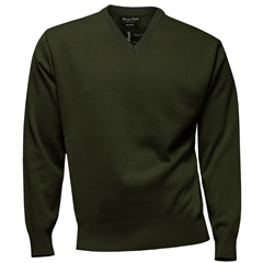 Franco Ponti Classic Vee Neck Sweater - Medium Weight - Moss