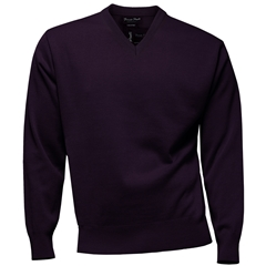 Franco Ponti Classic Vee Neck Sweater - Medium Weight - Purple