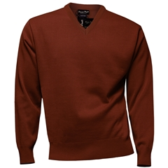 Franco Ponti Classic Vee Neck Sweater - Medium Weight - Rust