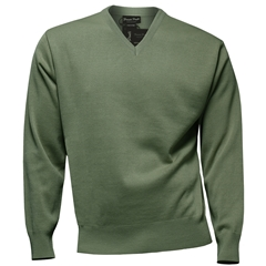 Franco Ponti Classic Vee Neck Sweater - Medium Weight - Sage