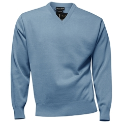 Franco Ponti Classic Vee Neck Sweater - Medium Weight - Sky