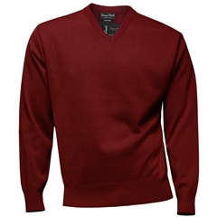 Franco Ponti Classic Vee Neck Sweater - Medium Weight - Terracotta