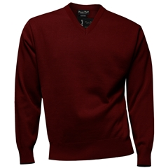 Franco Ponti Classic Vee Neck Sweater - Medium Weight - Wine