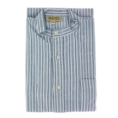 Magee Men's Blue Striped Brushed Cotton Nightshirt - Twin Blue Stripe