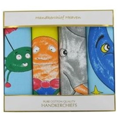 Gift Box of 4 Children's Handkerchiefs - 4 Nursery Designs Hankies