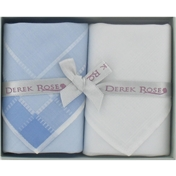 Gift Box of Two Ladies Handkerchiefs by Derek Rose - White and Sky Blue Design