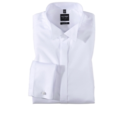 Olymp Level Five White Evening Dress Shirt - Extra Long Sleeve - Body Fit