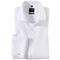 Olymp Modern Fit Shirt - White with Double Cuff and Cutaway Collar