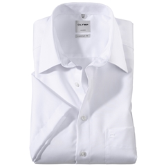 Olymp Comfort Fit Short Sleeve Shirt - White with Kent Collar