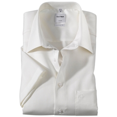 Olymp Comfort Fit Short Sleeve Shirt - Beige with Kent Collar