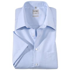 Olymp Comfort Fit Short Sleeve Shirt - Blue with Kent Collar